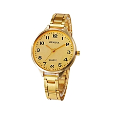 Fashion Man Women Crystal Stainless Steel Analog Quartz Wrist Watch-Gold