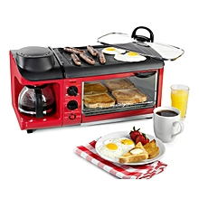 3 IN 1 Breakfast station  Coffee maker  Mini Grill & Mini Oven-Red