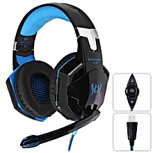 KOTION EACH G2200 Gaming Headphone 7.1 Surround USB Vibration Game Headset Headband Headphone with Mic LED Light for PC Gamer - BLACK AND BLUE
