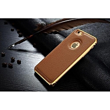 Vintage Back Case For IPhone 5 / 5S For IPhone Se Luxury PU Leather Cover + Aluminum Metal Bumper Hard Coque For Apple Brand Fundas Black Gold