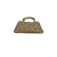 Raw Silk Handbag with Rose Pattern - Gold