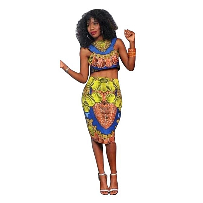 8cacd40d9 Fohting New Women Summer Casual Round Neck Traditional African Print Party Dresses  XL -As shown