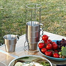 Outdoor Portable Picnic Cups Four Piece Suit Stainless Steel Drinking Mugs Anti-Hot Tea  Cup