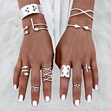 bluerdream-6pcs/Set Women Bohemian Vintage Silver Stack Rings Above Knuckle Blue Rings Set-Silver