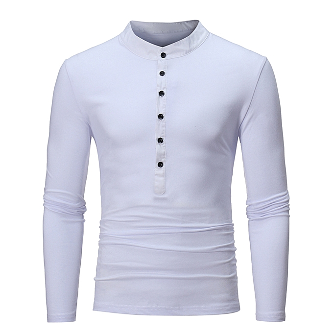 84666dce Fashion Stand Collar Panel Design Long Sleeve T-shirt - WHITE @ Best ...