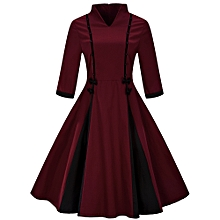 Woman Vintage flare Swing Dress - Wine Red