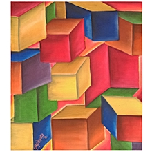 abstract wall painting - 62.5cm by 74cm - multicolor