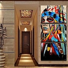 3Pcs Set Indian Woman Canvas Painting Print Picture Home Wall Modern Art Decor