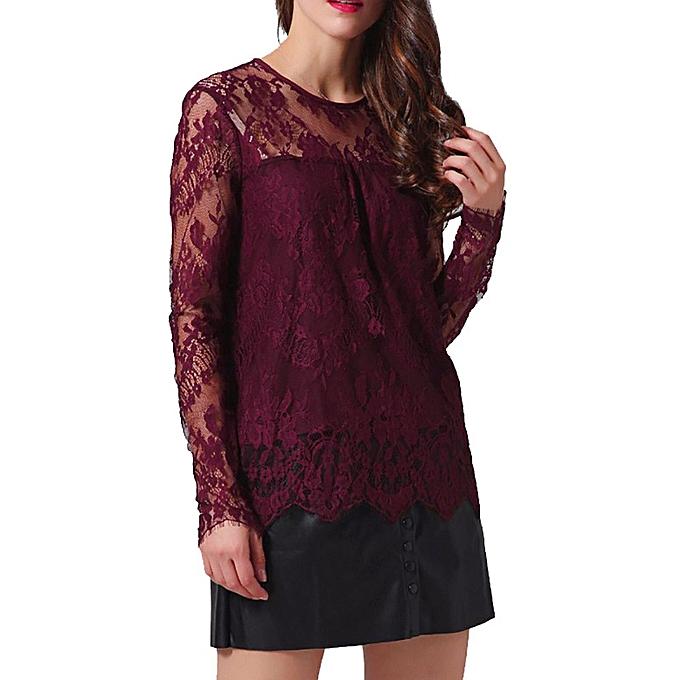 30226f781a11ba ... Hiaojbk Store Women Vintage Transparent Lace Shirt Long Sleeve O-Neck  Blouse Ladies Tops- ...