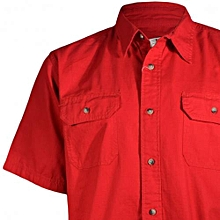 Red Short Sleeved Mens Casual Shirts