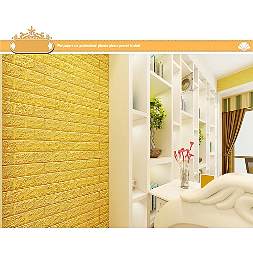 Generic 3D Brick Wall Sticker Self-Adhesive Foam Wallpaper Panels Room Decal-yellow