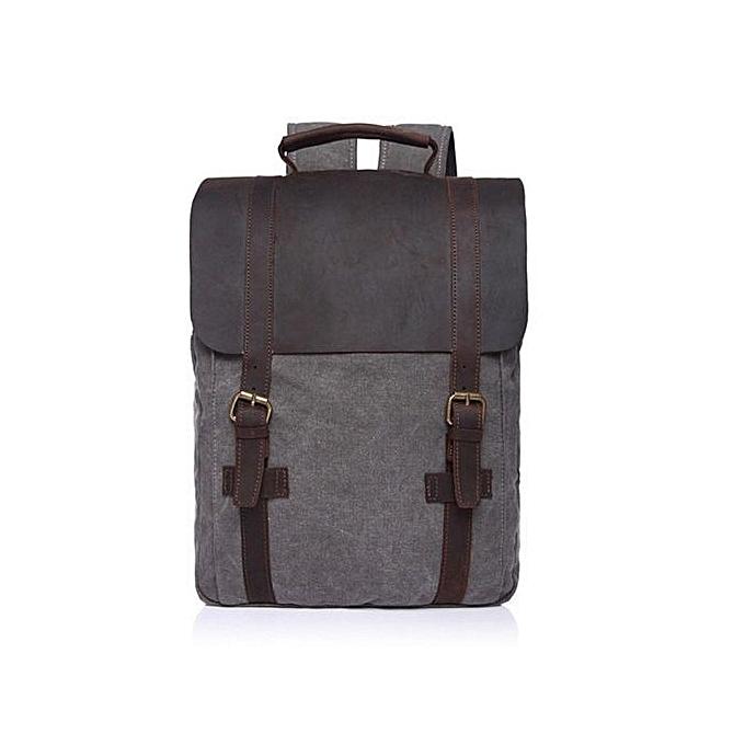 1c2ef88d43 Men Women Canvas Leather Backpack Shoulder School Bag Travel Rucksack  Laptop HOT Dark Grey
