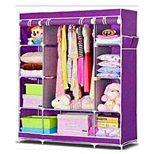 Wooden Framed Portable Wardrobes  3 columns- Purple