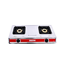 GK6856 - S/S Double Gas Burner- Automatic- Silver