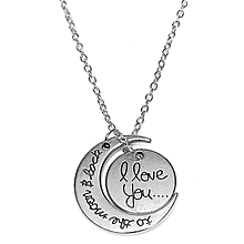 Silver and Gold Tone ''I Love You To The Moon and Back'' Pendant Necklace Jewelry