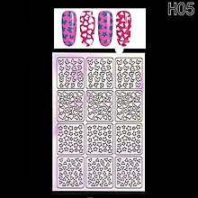 Hequeen New Nail Hollow Irregular Grid Stencil Reusable Manicure Stickers