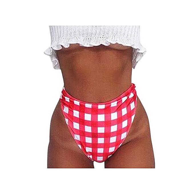 265c64200f3f7 Xingbiaocao Women Bikini Set Plaid Swimwear Push-Up Padded Bandage Bra Red  Swimsuit -Hot ...