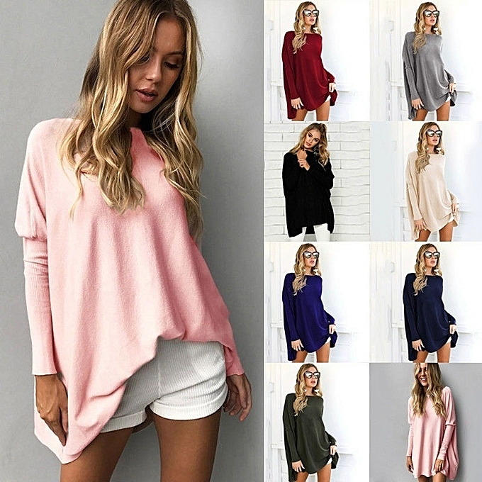 ea52e3086491 KMT-Womens Long Sleeve Oversized Pullover Sweater T-Shirt Dress Shirt Tops  Blouse