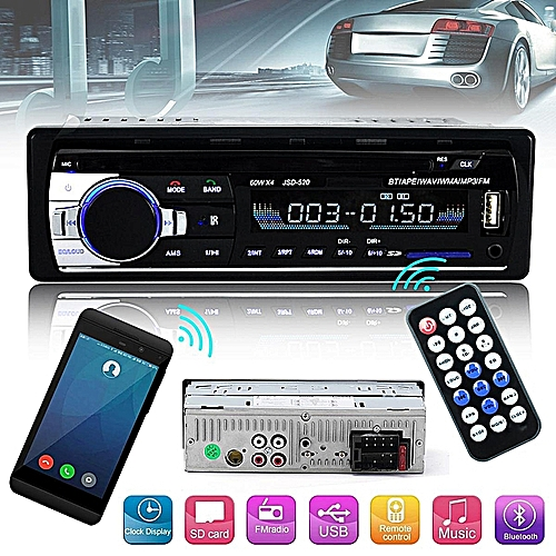 12V Car Radio Bluetooth Handsfree Support USB/SD Stereo FM Radio SD  Card/AUX In/Mic MP3 Audio Player—black