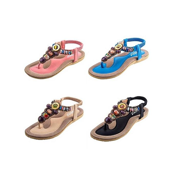 75d1506666cbf6 ... Sandymarket SIKETU Ladies Bohemia Beads Elastic Band Beach Flip-flop  Sandals-APRICOT (UK