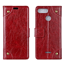 "Redmi 6 Case,Flexible Premium PU Leather Flip Case Slim Durable TPU Anti-Scratch Shockproof Protective Cover for Xiaomi Hongmi 6 5.45"" -Burgundy"
