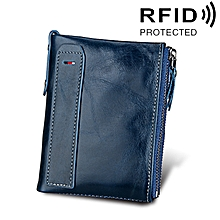 Genuine Cowhide Leather Crazy Horse Texture Dual Zipper Short Style Card Holder Wallet RFID Blocking Card Bag Protect Case for Men, Size: 12.1*9.4*2.7cm(Blue)