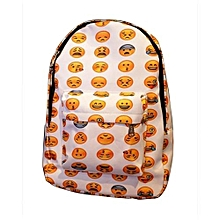 Novelty Emoji Pattern Women Backpack -White