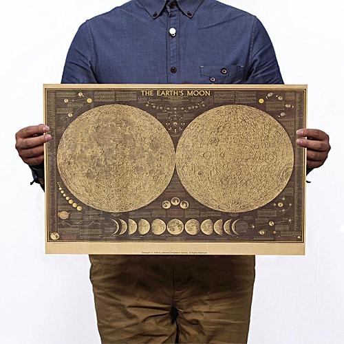 Large Paper World Map.Generic Large Vintage Retro Paper Poster Globe World Map Moon Lunar