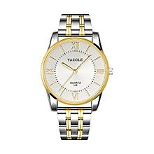 348 Men Fashion Business Steel Strap Band Quartz Wrist Watch, Luminous Points (White)
