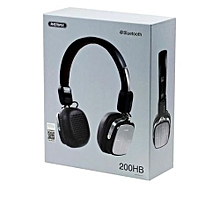 RB-200HB - Wireless Bluetooth Bass Headset Leather -Black