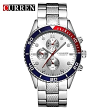 Watches, 8028 Sport Quartz Fashion Casual Luxury Men's Wrist Watches Business Clock - Silver