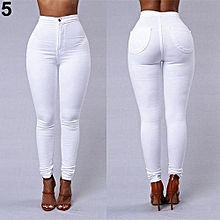 Women Pencil Stretch Casual Denim Skinny Jeans Pants High Waist Trousers-White