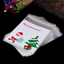 100PC Self Adhesive Plastic Seal Bag Cookies Candy Wrapping Bags Christmas Pouch-White