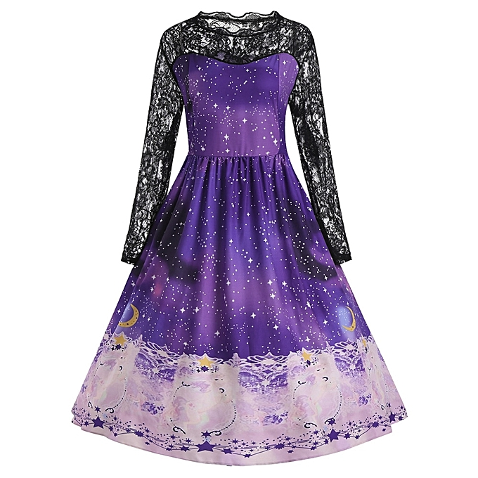 Buy Fashion Plus Size Christmas Party Gown Dress with Sleeves - BLUE ...
