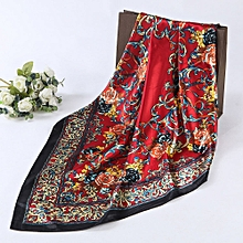 Women Lady Floral Printed Square Scarf Head Wrap Shawl Red