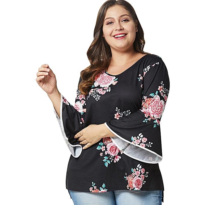 9d527cf923d Generic Fashion Leadsmart Plus Size Floral High Low T-shirt   Best ...