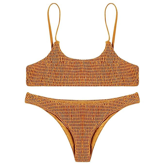 8fd3e95888 Fashion Leadsmart Sexy Pleated Bikini Women Swimsuit Swimwear Set Beachwear  Bathing Suit