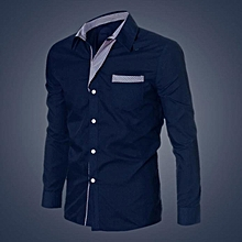 jiuhap store Fashion Mens Luxury Long Sleeve Casual Slim Fit Stylish Dress Shirts NY/L-Navy