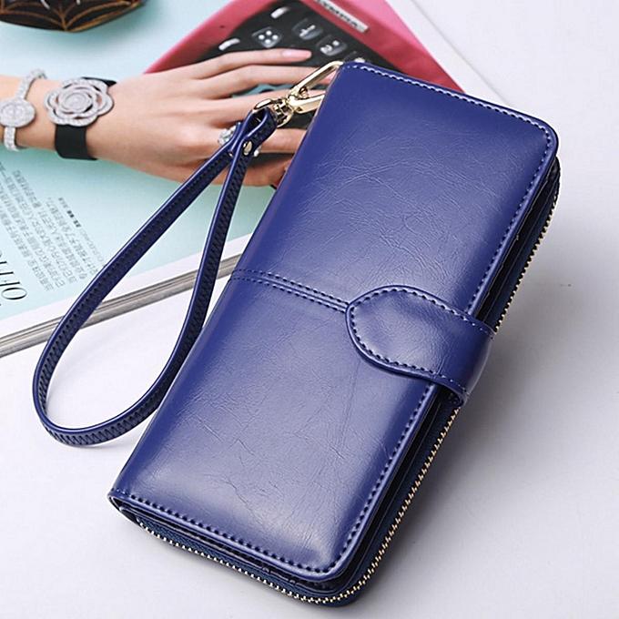 uk availability e0536 f86cf Women Leather Wallet Long Zip Purse Ladies Card Holder Case Clutch Phone  Handbag Dark Blue