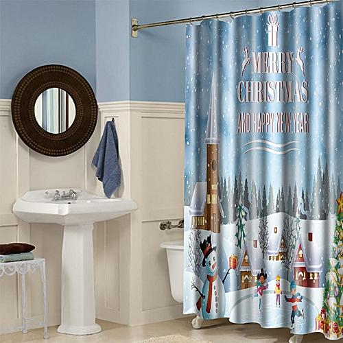 Generic 180 180cm Snowman With 12 Hooks Bathroom Shower Curtain Waterproof Mildew Best Price