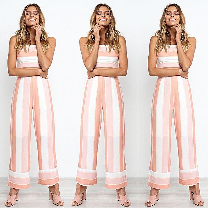 8e8cd73ac5 Xingbiaocao Women Striped Backless Strappy Tops Trouser Sets Ladies 2PCS Beach  Jumpsuit M -Pink