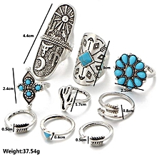 9pcs/Set Women Bohemian Vintage Silver Stack Rings Above Knuckle Blue Rings Set-Silver