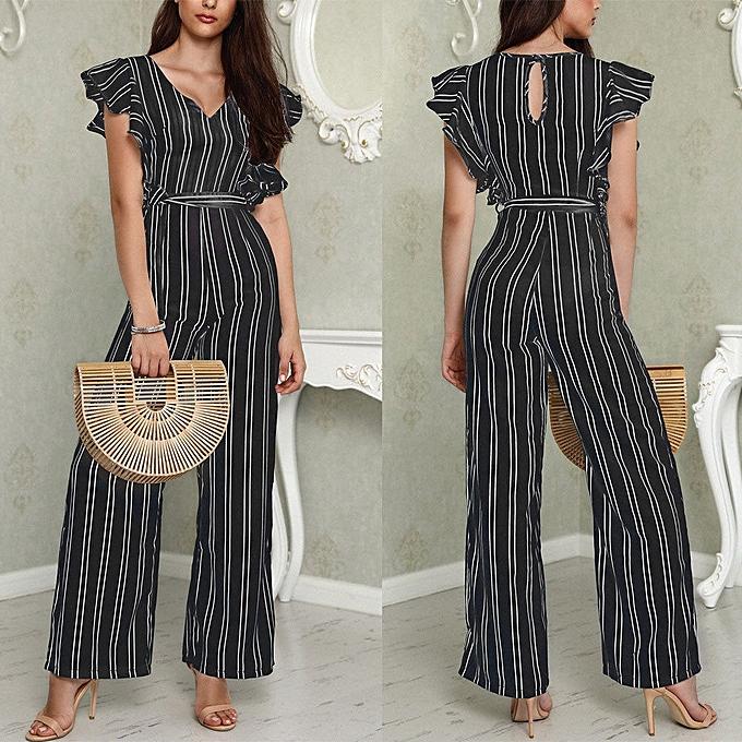 76703545ef89 ... Pants Trousers Jumpsuit L Black. Fashion Jiuhap Women Striped Clubwear  Playsuit Bodysuit