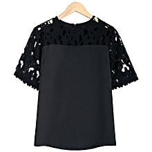 Women Guipure Lace Splicing Cut Out Blouse - Black