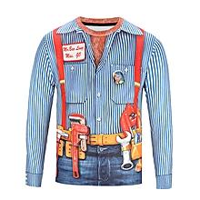Men 3D Funny Print T-Shirt - Light Blue + Orange
