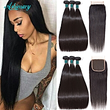 8A Brazilian Straight Hair with Closure