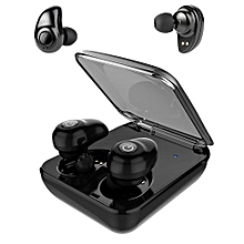 True Wireless Earbuds, Bluetooth Headphones with Charging Box Sweatproof Sports Earphones Mini Stereo Music Earpieces with Microphone - Black