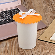 Hot Kawaii Bow Onion Lace Dust Reusable Silicone Cover Cup-Orange