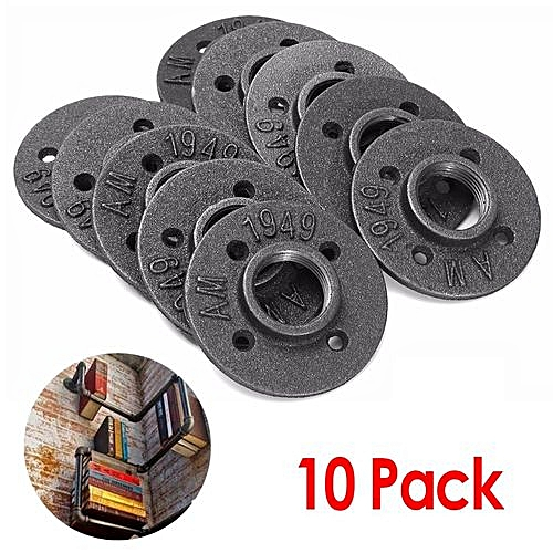 10Pcs 1'' Malleable Threaded Floor Flange Iron Pipe Fittings Wall Mounted  Decor