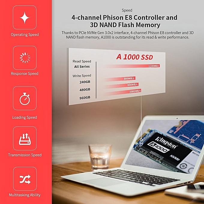 Kingston Digital A1000 NVMe M 2 240GB SSD For Laptop Notebook Computer  Hi-speed SA1000M8/240G